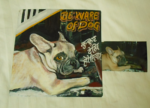 Folk art Beware of French Bulldog hand painted on metal in Nepal