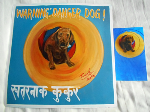 Folk art portrait of a Chesapeake Bay Retriever in a tunnel, hand painted on metal in Nepal