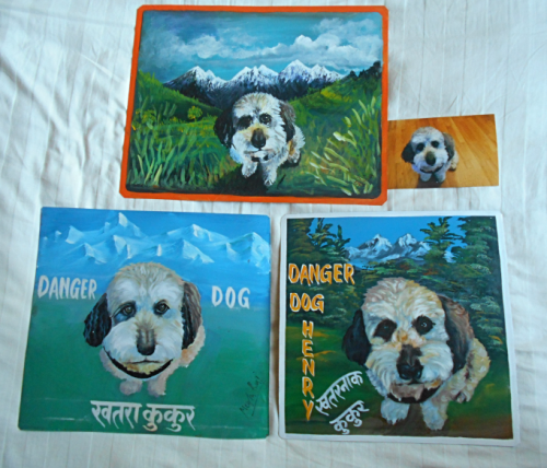 Folk art beware of Schnoodle sign hand painted on metal in Nepal