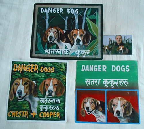 Folk art beware of Foxhound and Beagle hand painted on metal in Nepal