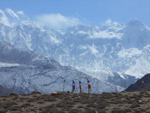 Tibetan prayer flags fly high in the Annapurna Range.