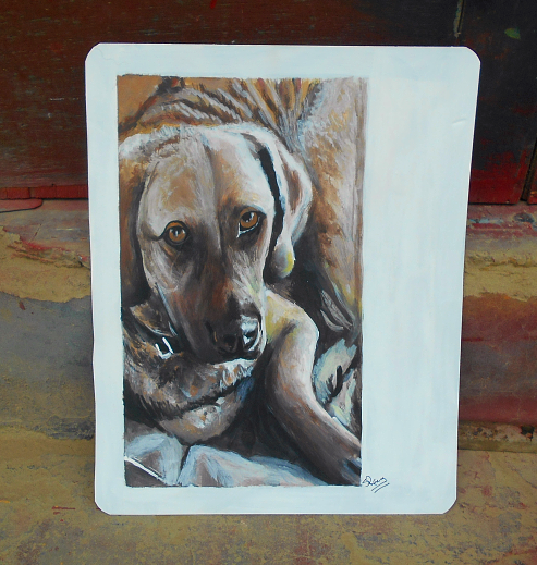 Folk art portrait of a Chesapeake Bay Retriever hand painted on metal in Nepal.