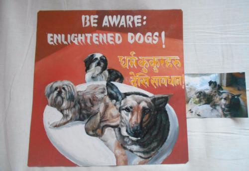 Folk art beware of dog art hand painted on metal in nepal