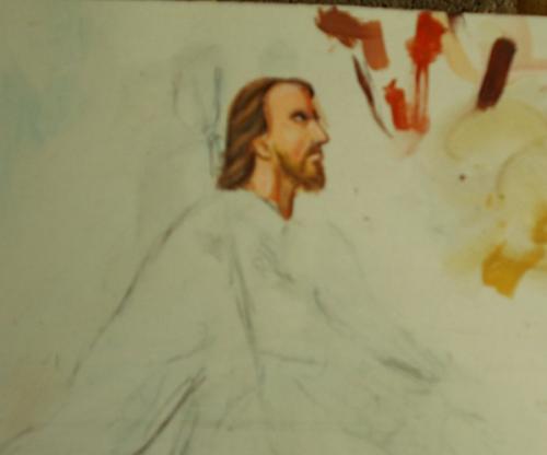 Folk art portrait of St. Roch, patron saint of dogs