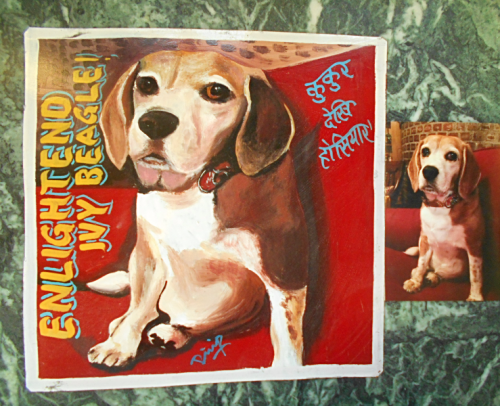 folk art portrait of a Beagle hand painted on metal in Nepal
