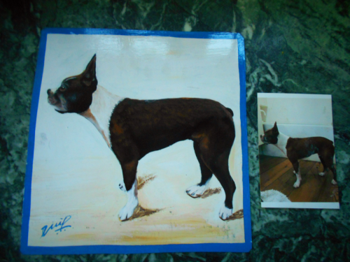 Folk art portrait of a Boston Terrier hand painted on metal in Nepal