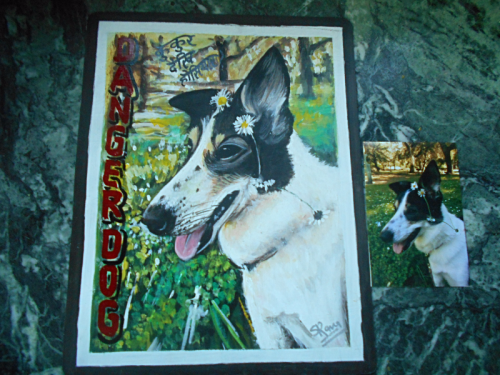 Folk art portrait of a Border Collie mix hand painted on metal in Nepal