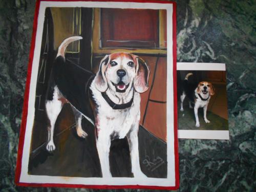 folk art portrait of a Beagle hand painted on metal in Nepal