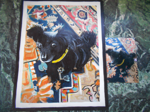Folk art portrait of a Chihuahua mix hand painted on metal in Nepal