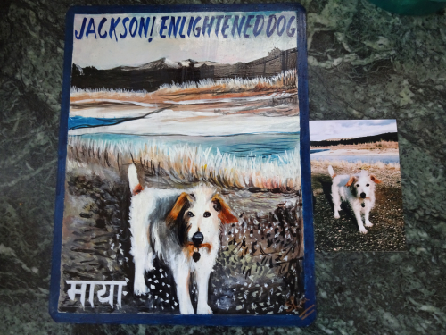 Folk art Jack Russell Terrier Hand painted on metal in Nepal