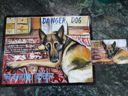 Folk art beware of dog sign German Shepherd hand painted on metal in Nepal