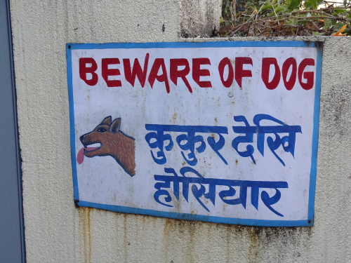 Nepalese vintage beware of dog sign