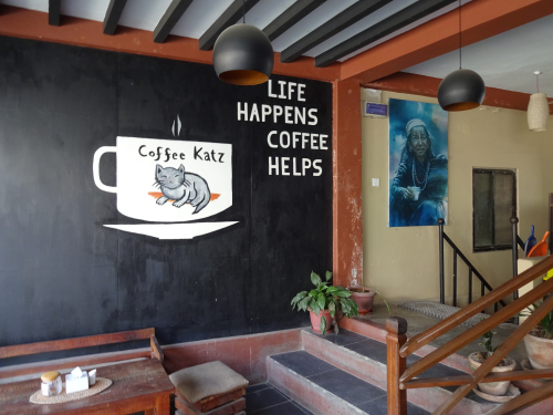 Mural in a Pokhara Coffee shop featuring a cat