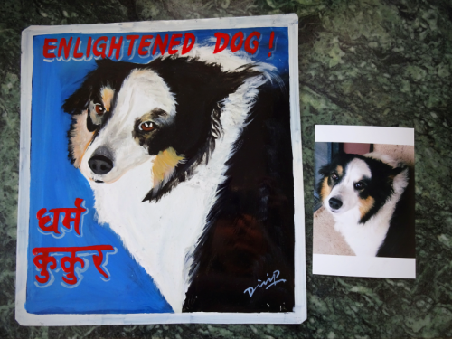 Folk art portrait of a Border Collie hand painted on metal in Nepal