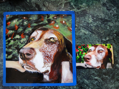 folk art portrait of a German Short Haired Pointer hand painted on metal in Nepal