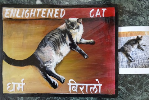 Folk art Himalayan Cat hand painted on metal in Nepal