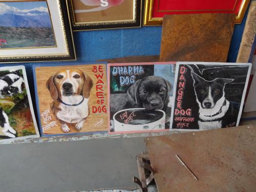 Folk art Dog portraits in an artist's studio in Kathmandu