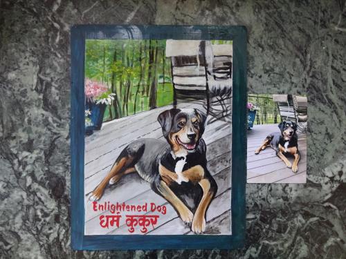 Folk art portrait of a Rottweiler Labrador mix hand painted on metal in Kathmandu, Nepal
