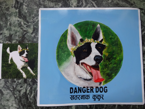 Folk art painting of a Collie Cattle Dog mix hand painted on metal in Nepal