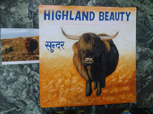 Folk art portrait of a Scottish Ox hand painted on metal in Kathmandu