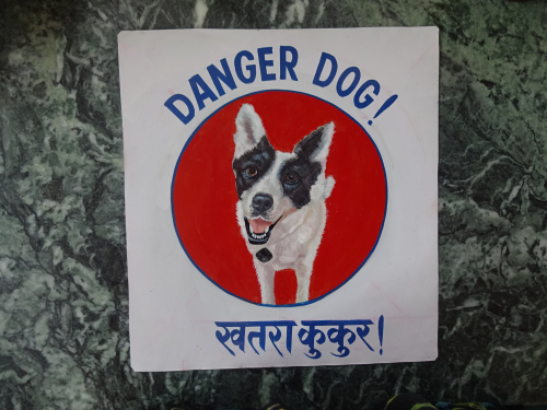 Folk art portrait of a Collie Labrador mix hand painted on metal in Nepal